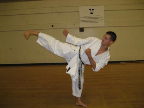 Yale Shotokan Karate Student Kicking